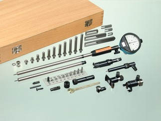 Modular system to cover a large measuring range for changing measuring tasks. Application range overall from diameter 6 to 800 mm. One upper part can be combined individually with different measuring heads or various accessories. In comparison to the version SV, the version SVS additionally includes a measuring head for blind bores.